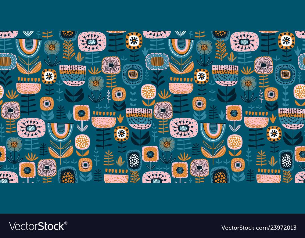 Folk floral seamless pattern modern abstract
