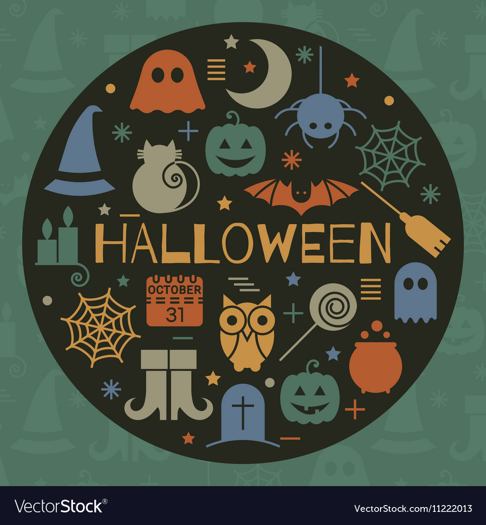 Halloween icons set in circle shape