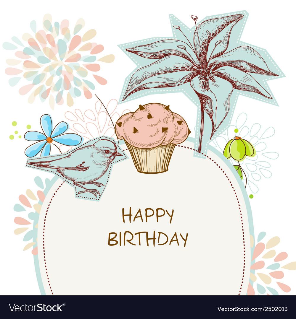 Happy Birthday Card Cupcake Bird And Flowers Vector Image