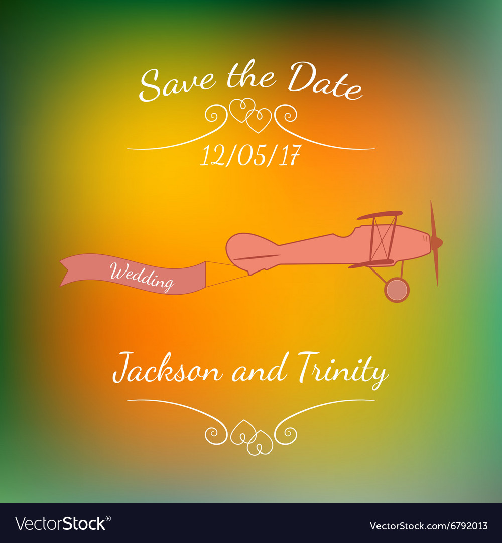retro plane with a wedding banner and names over vector image
