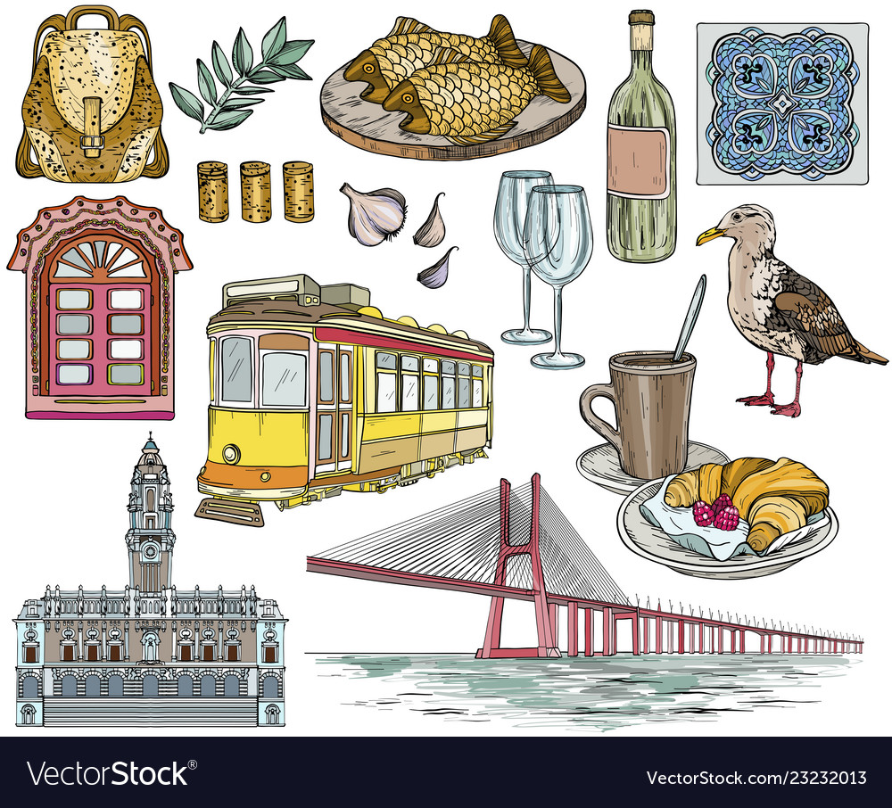 Set of portugal drawings and landmarks