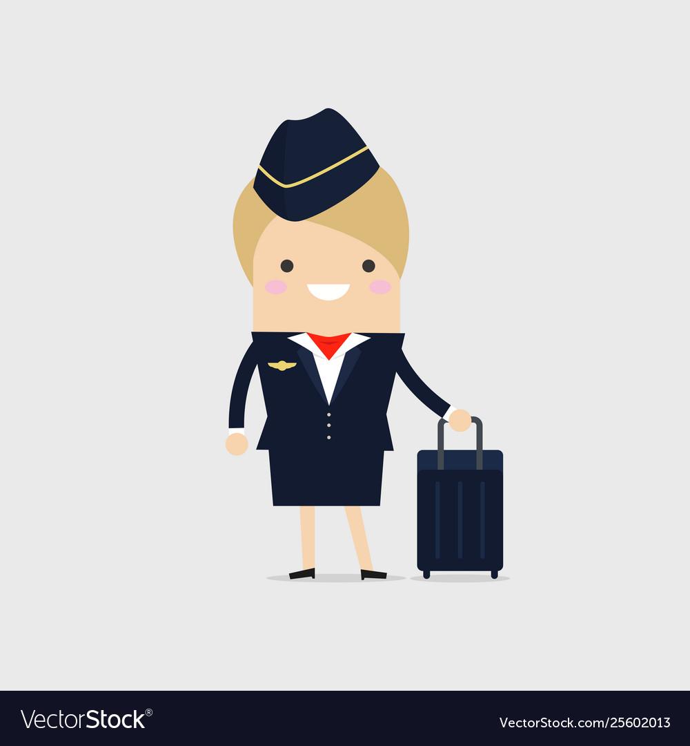 Stewardess holding suitcase