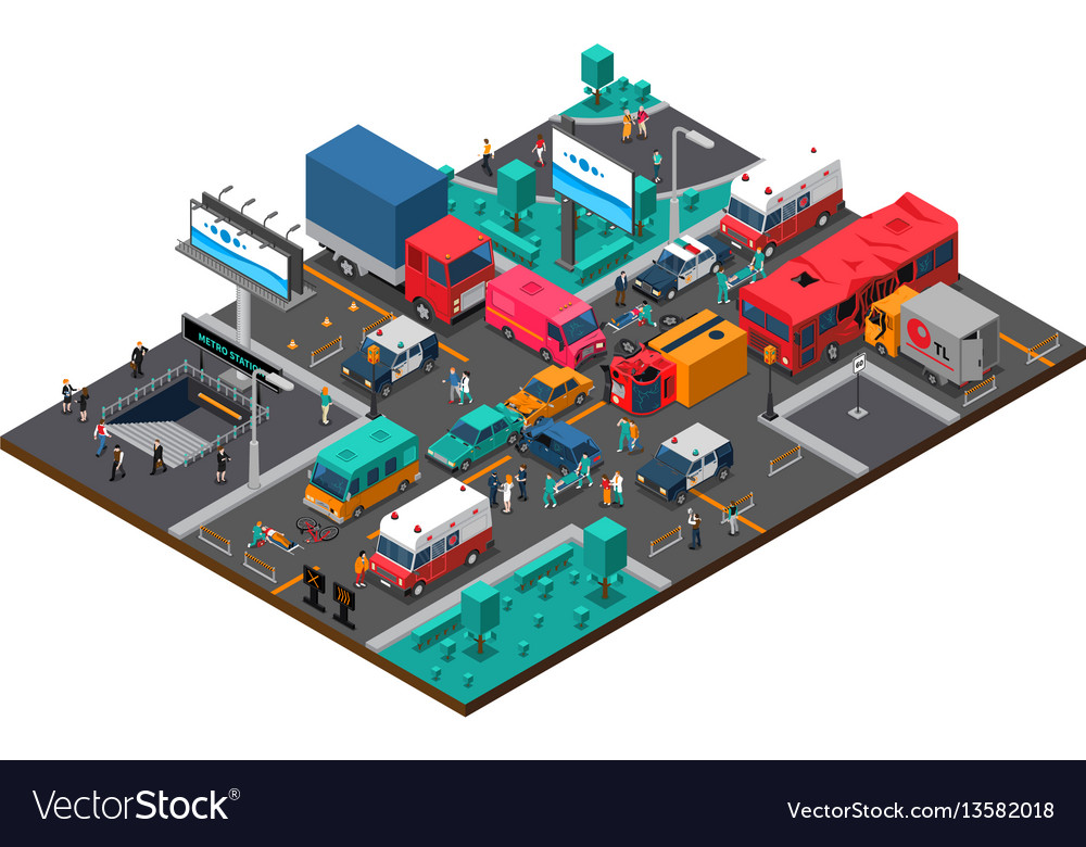 Accident on crossroad isometric vector image