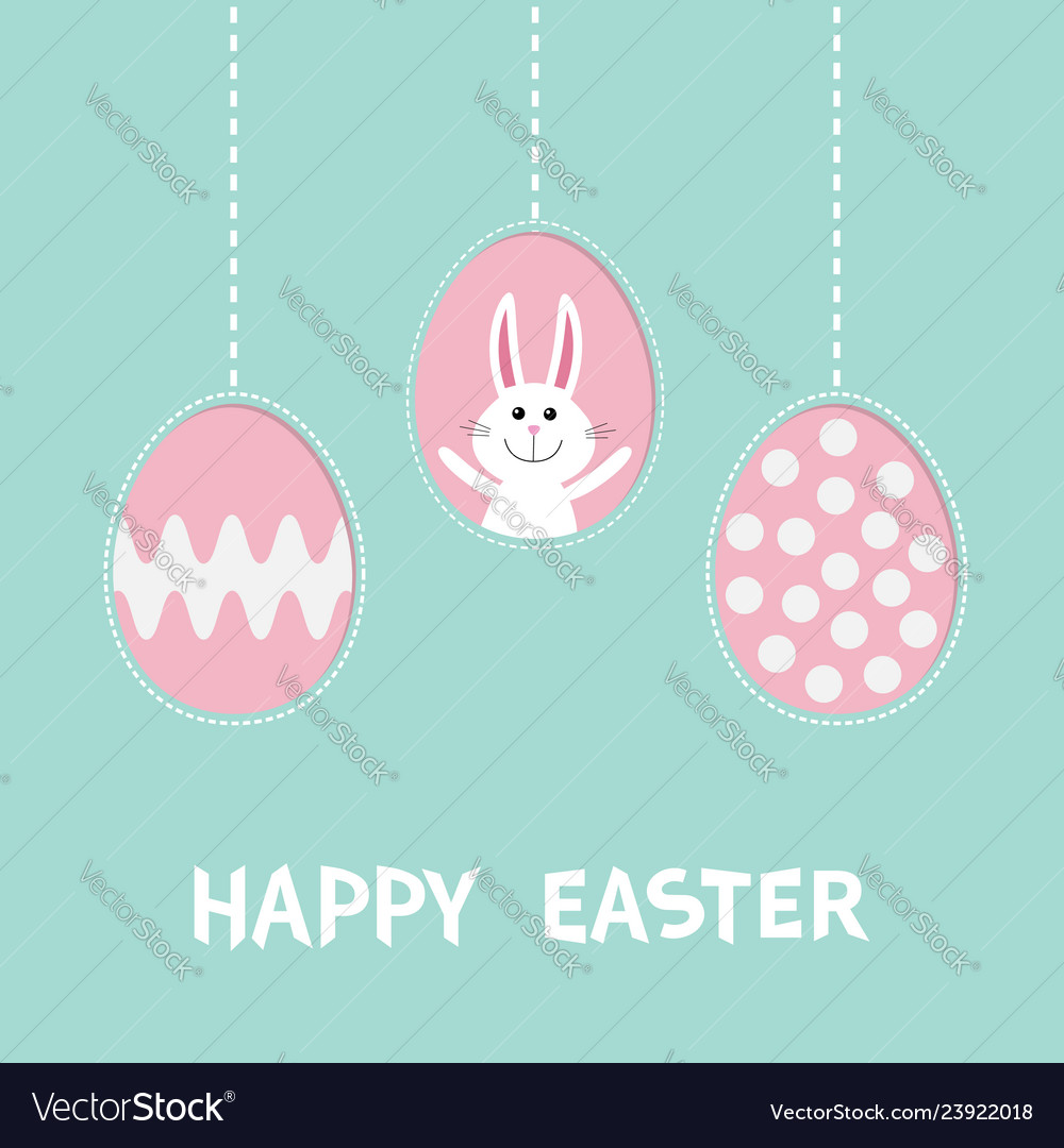 Cute rabbit hare with tie bow three painting egg