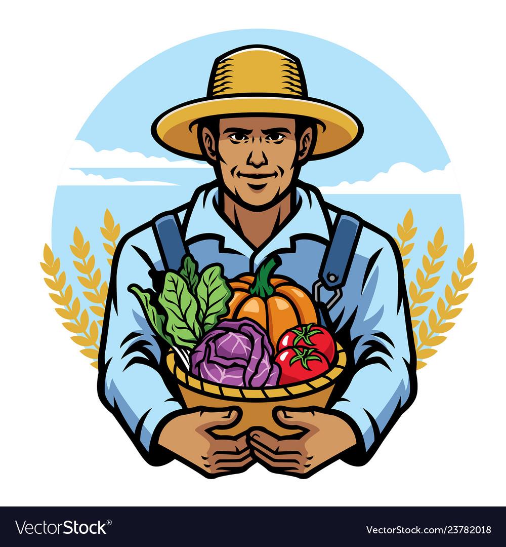 Farmer holding a basket full of vegetables