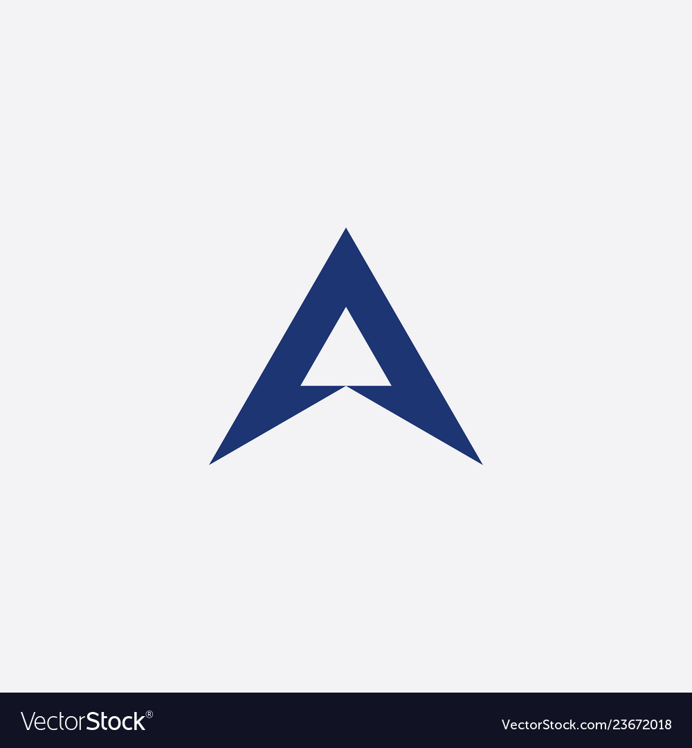 Letter a triangle blue symbol