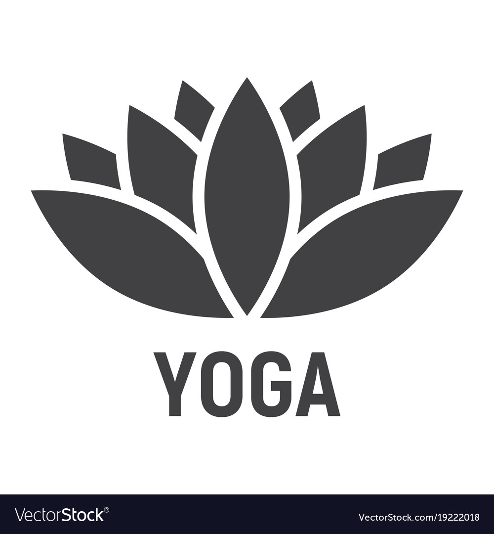 Lotus glyph icon fitness and sport yoga sign vector image