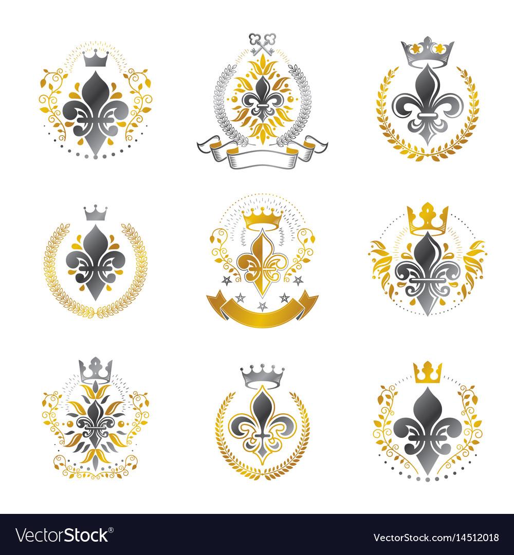 Royal symbols lily flowers emblems set heraldic