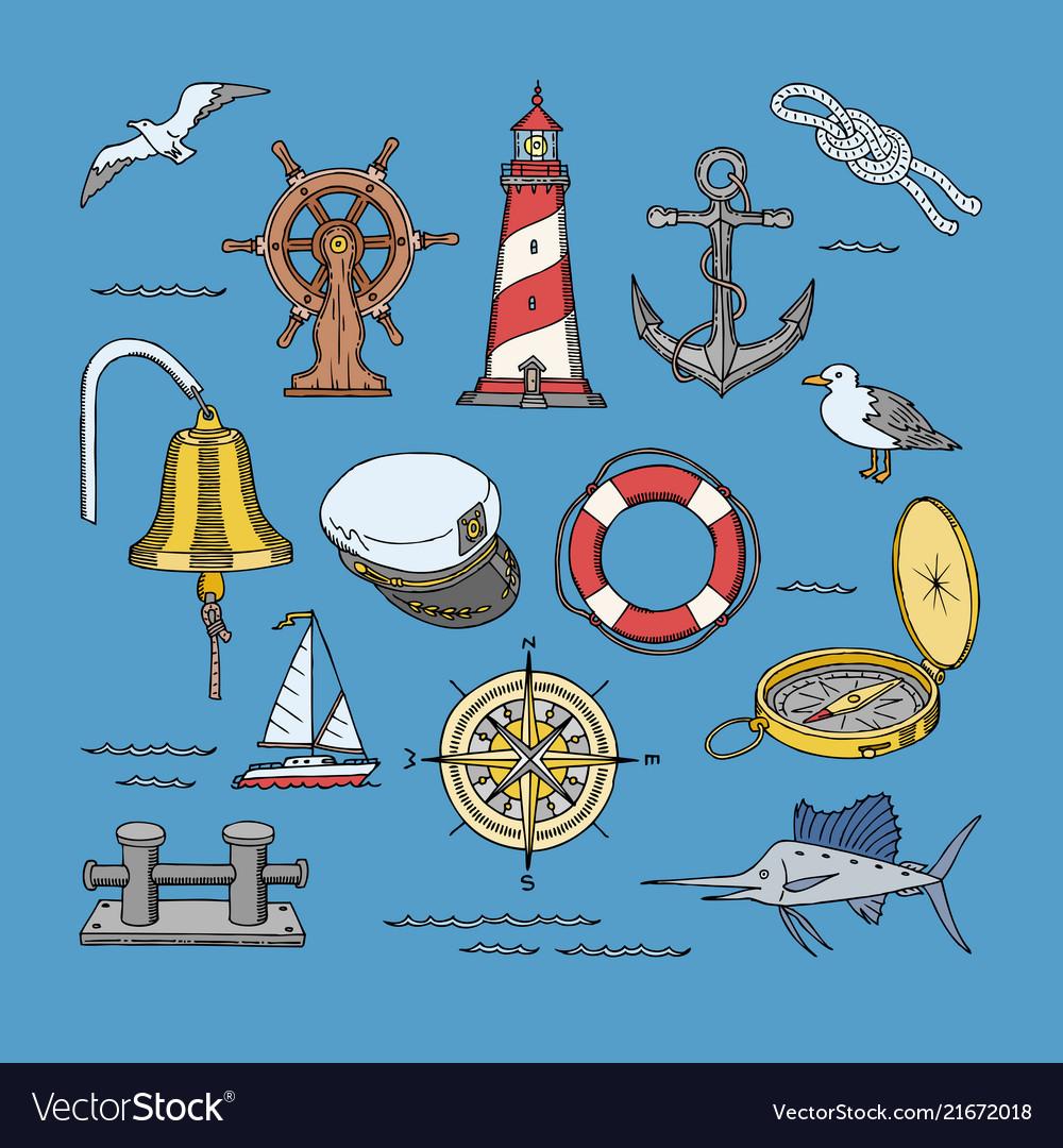 Sea marine or nautical symbols lighthouse