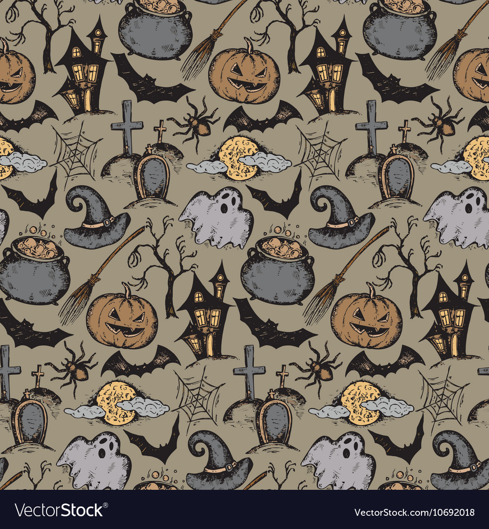 Seamless pattern with sketch Halloween