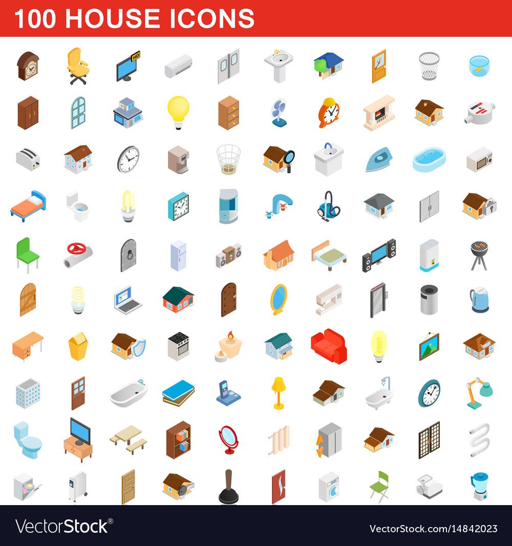 100 house icons set isometric 3d style