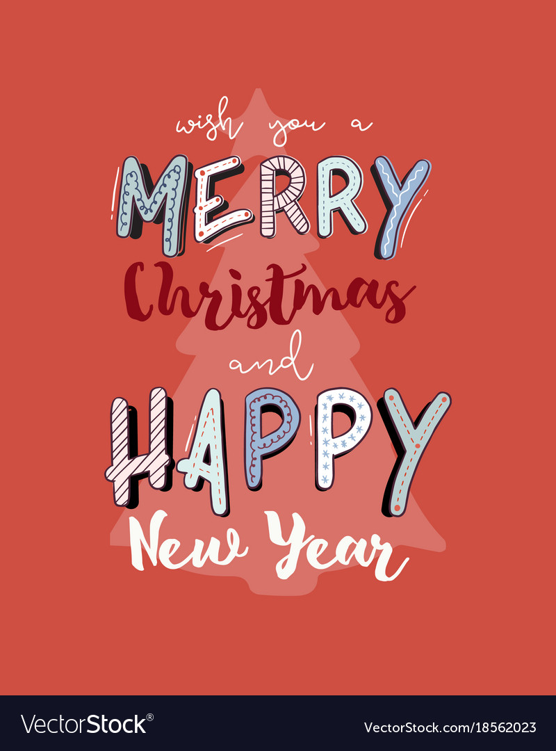 christmas and happy new year gift card hand draw vector image