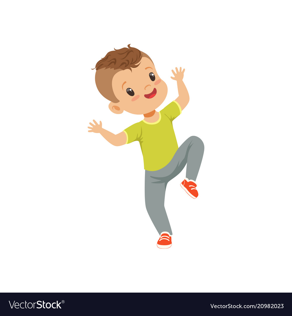 Cute happy little boy dancing in casual clothes
