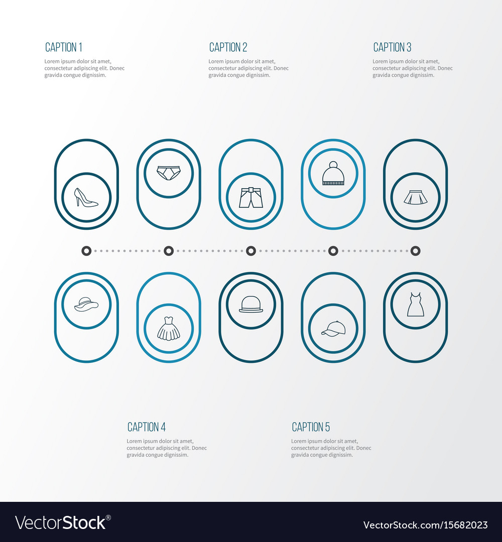 Dress outline icons set collection of pompom vector image