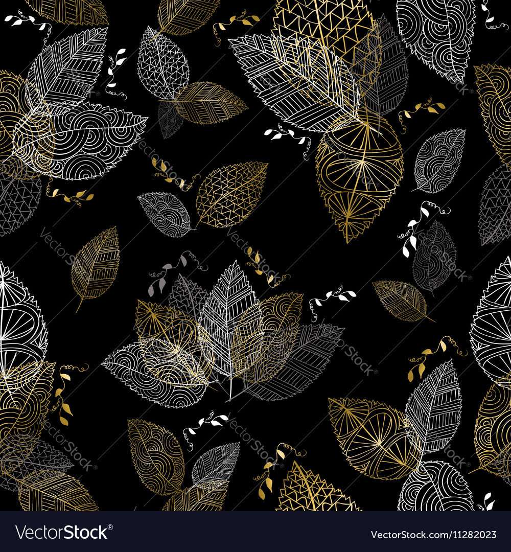 Gold hand drawn fall leaves seamless pattern