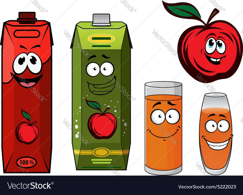 Red apple juice cartoon characters vector image