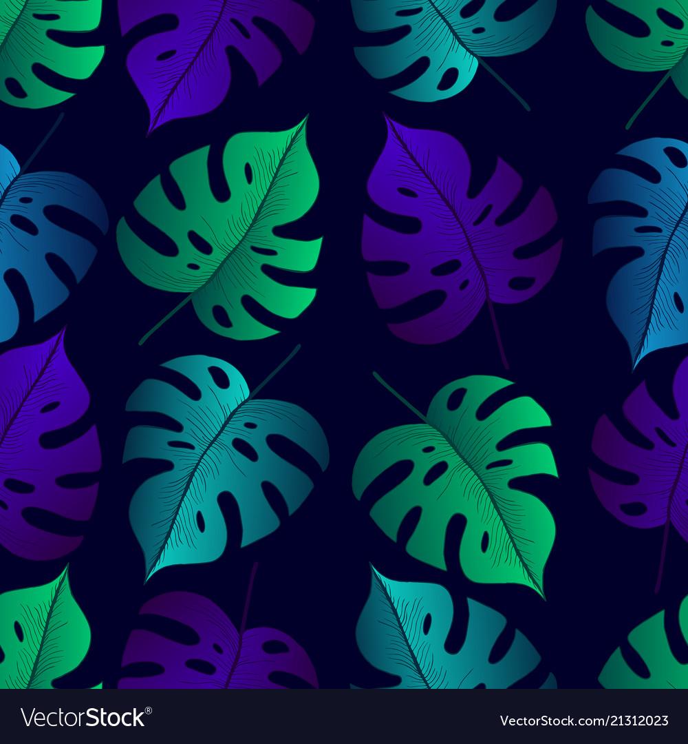 Tropical leaf monstera seamless pattern black