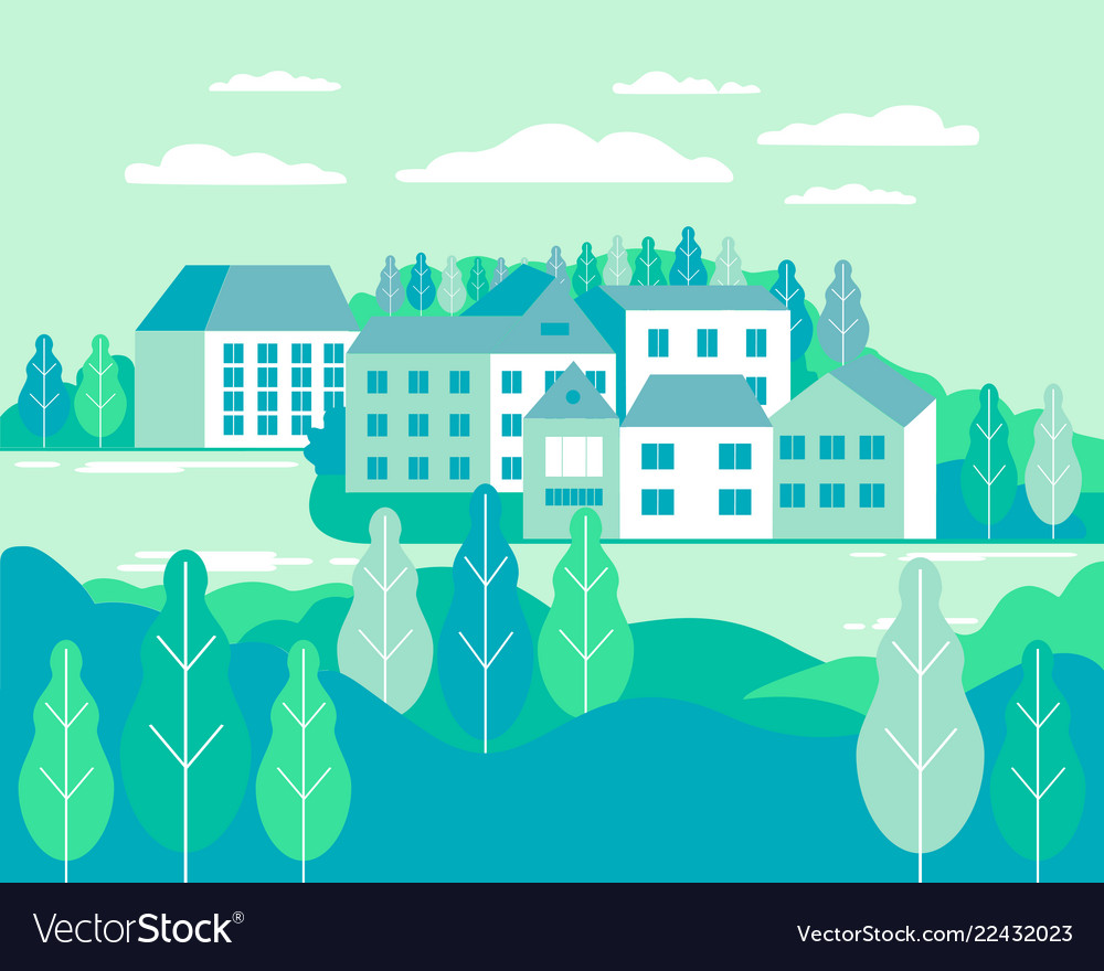 Village landscape flat buildings hills lake
