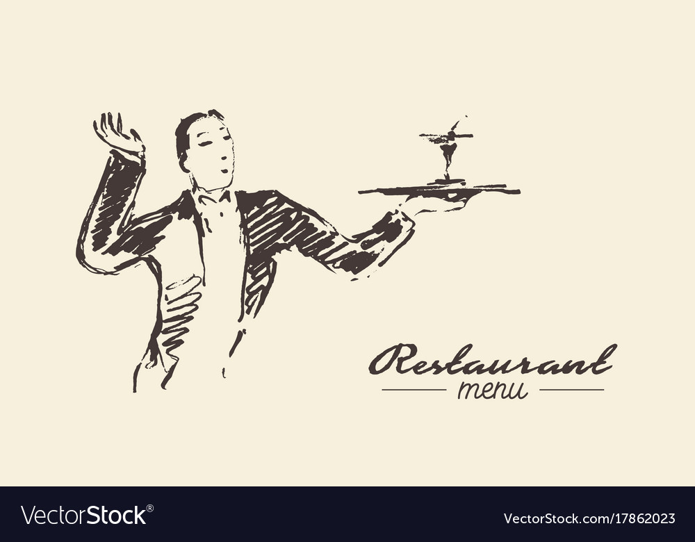Waiter holding tray cocktail drawn sketch