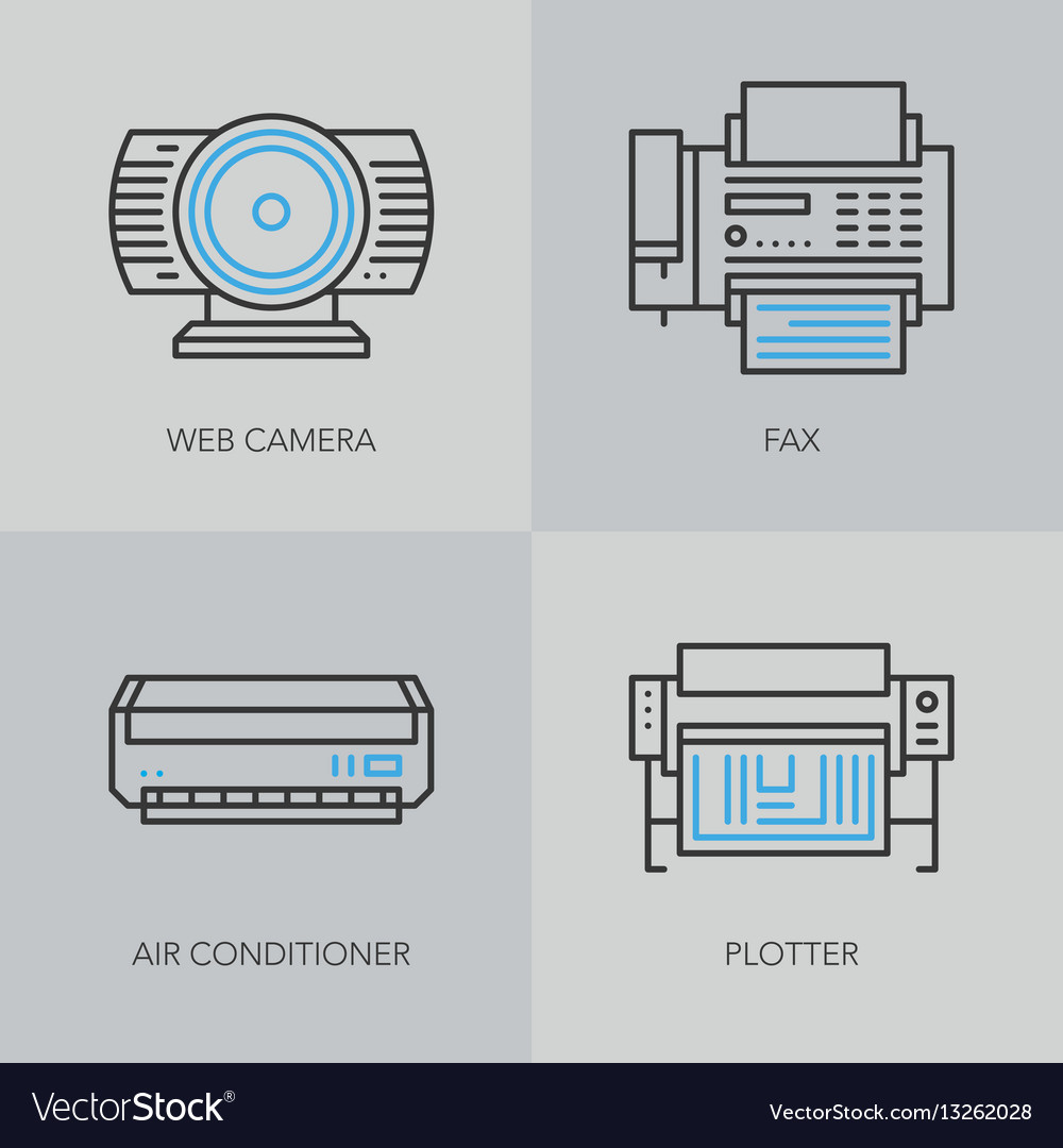 Detailed thin line icons for business