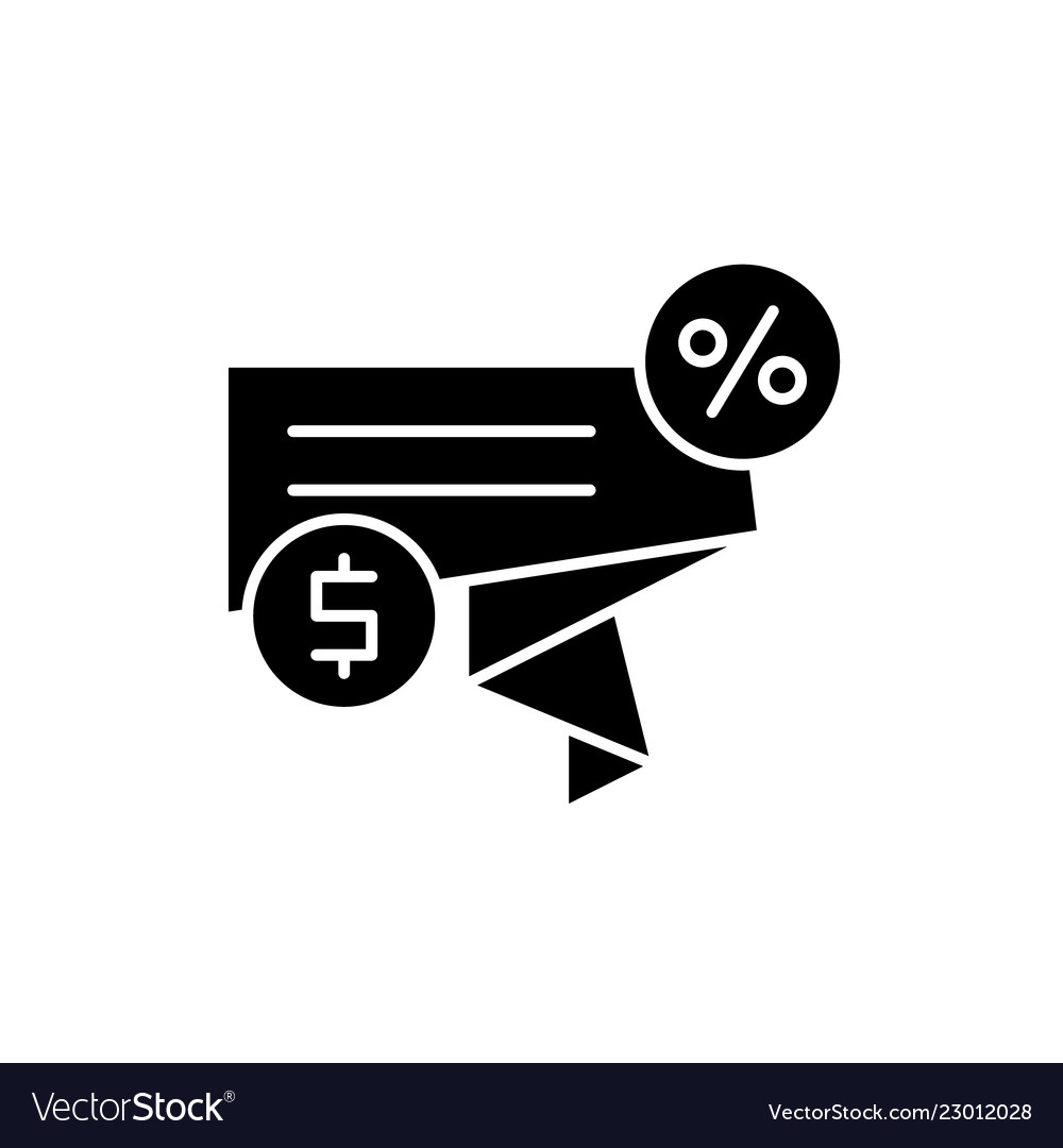 Discount sales black icon sign on isolated