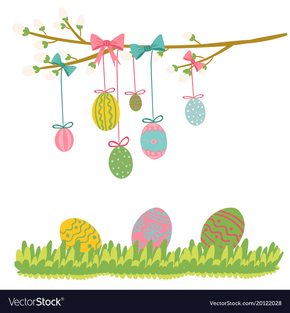 Easter Egg Hanging On Tree Royalty Free Vector Image