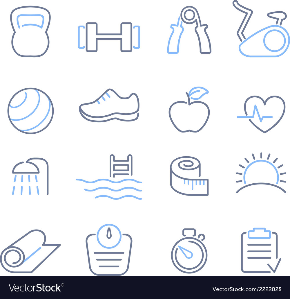 Fitness club icons set vector image
