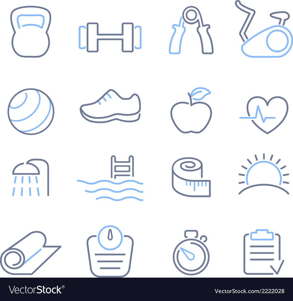 Fitness club icons set