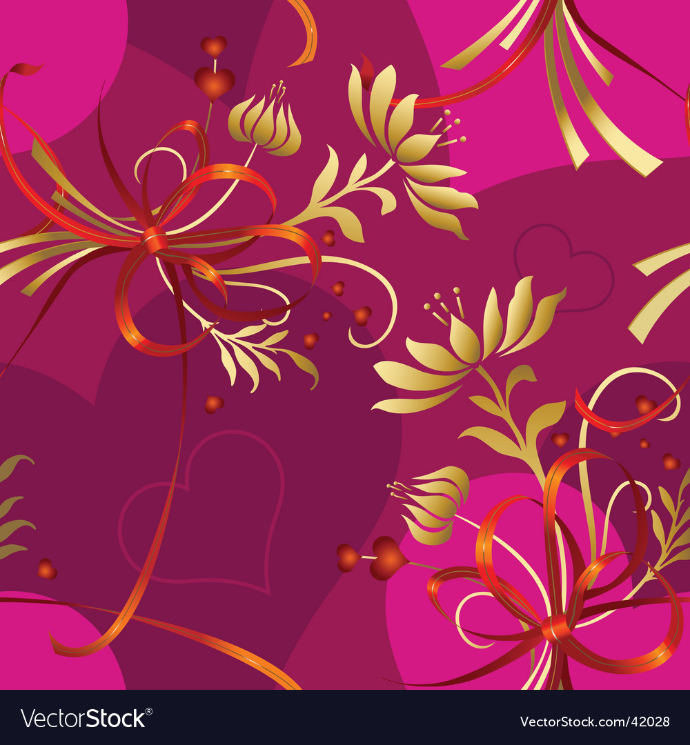 Floral hearts pattern vector image