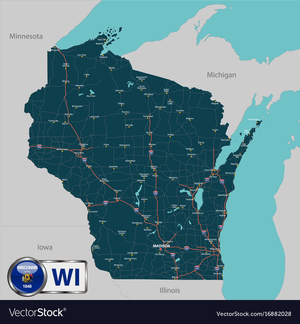 Map of state wisconsin usa Royalty Free Vector Image