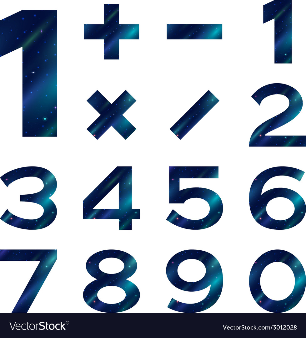Numbers set blue space