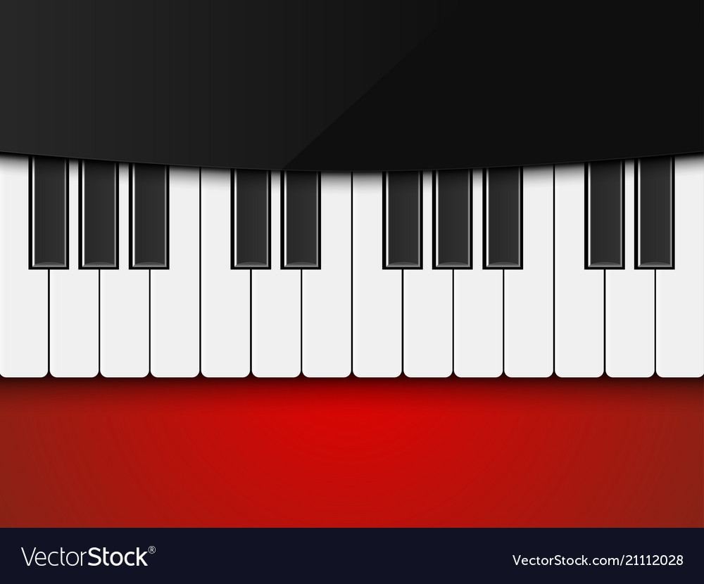 Piano on red background