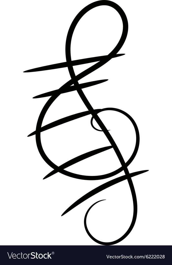 Treble clef decorative painted on a white vector image