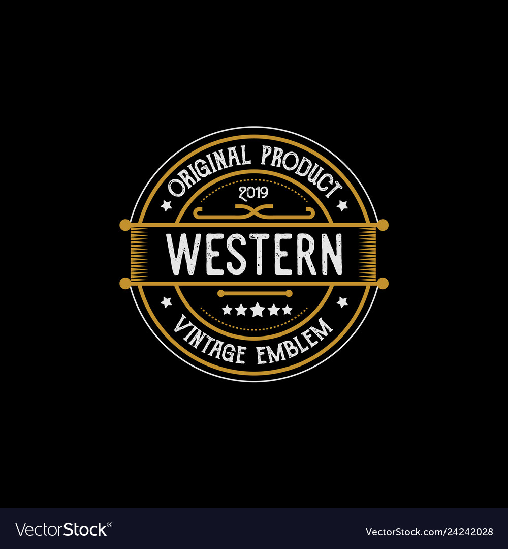 Vintage country emblem typography for western bar