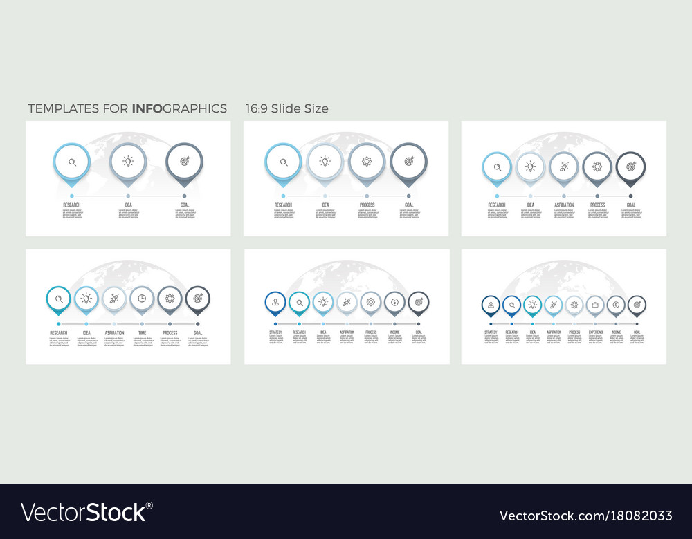 Business presentations timeline infographics with vector image