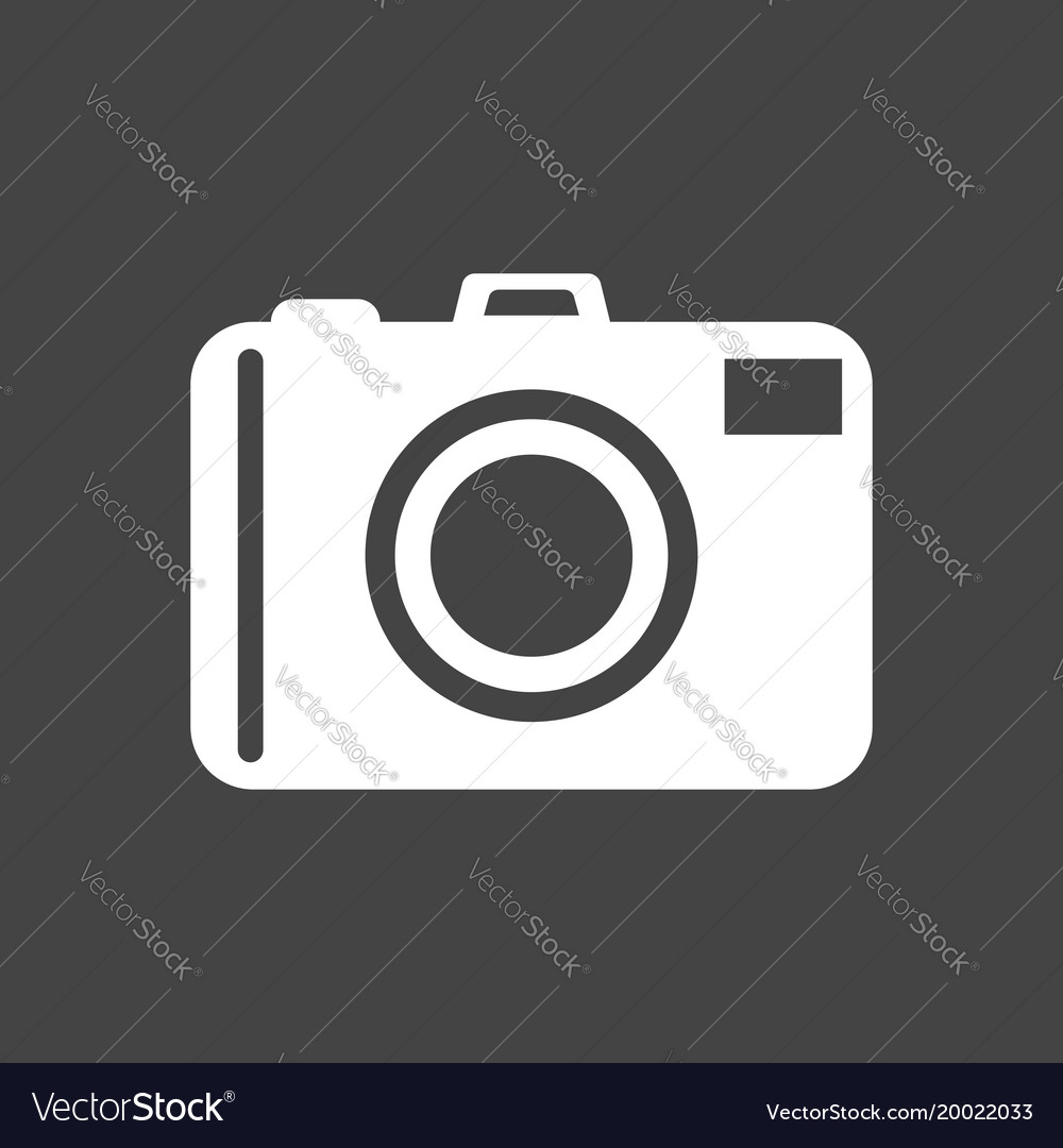Camera icon on black background flat