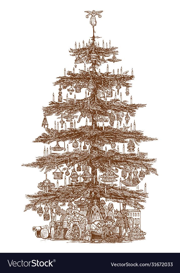 Christmas tree vintage hand drawn holiday decor