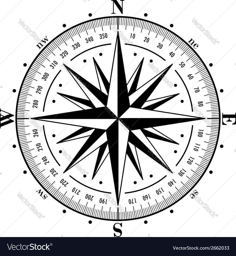 Compass rose isolated on white