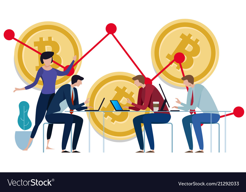 Golden bitcoins chart down background graph of