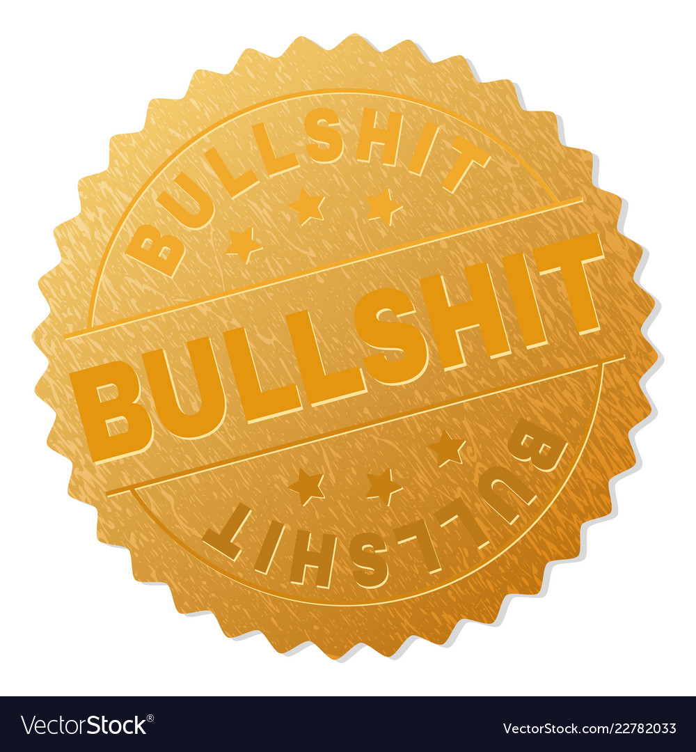 Golden bullshit award stamp vector image