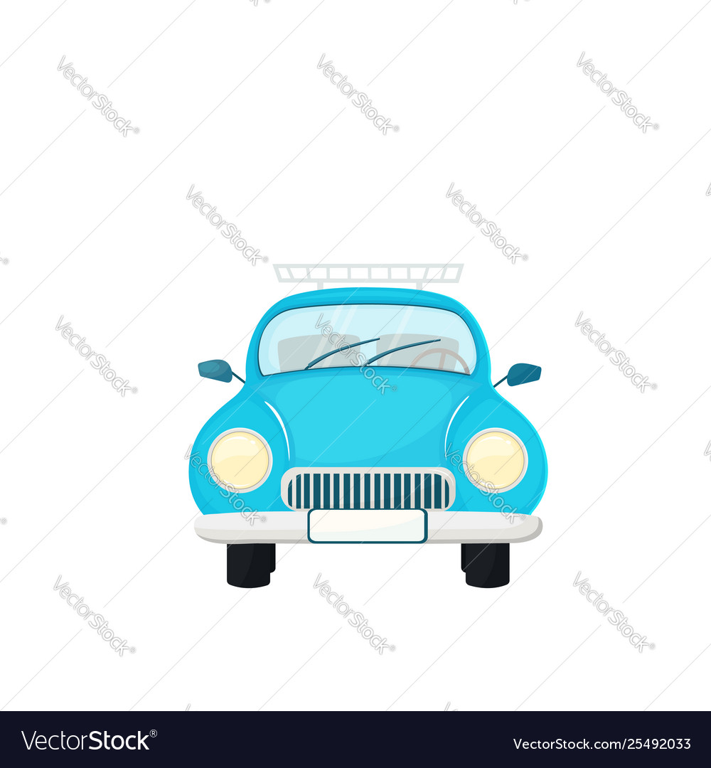 Old blue retro car isolated on white background
