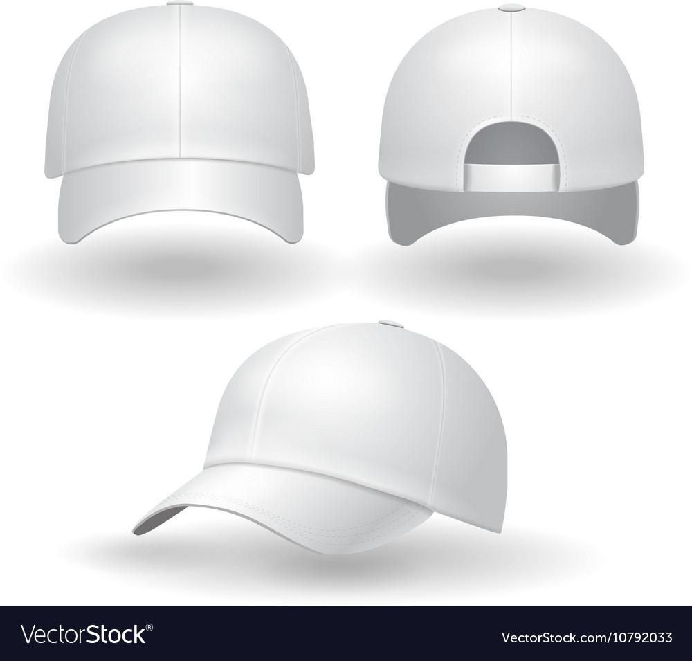 Realistic white baseball cap set
