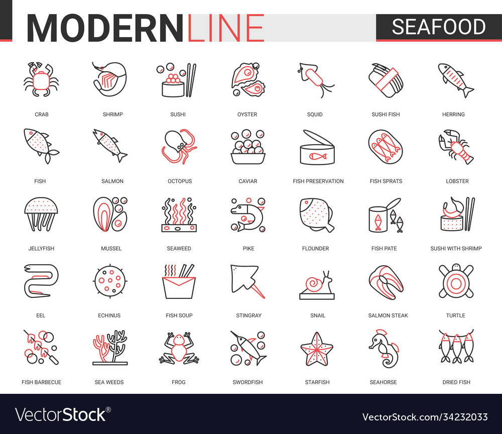 Seafood for shop cafe restaurant thin red black
