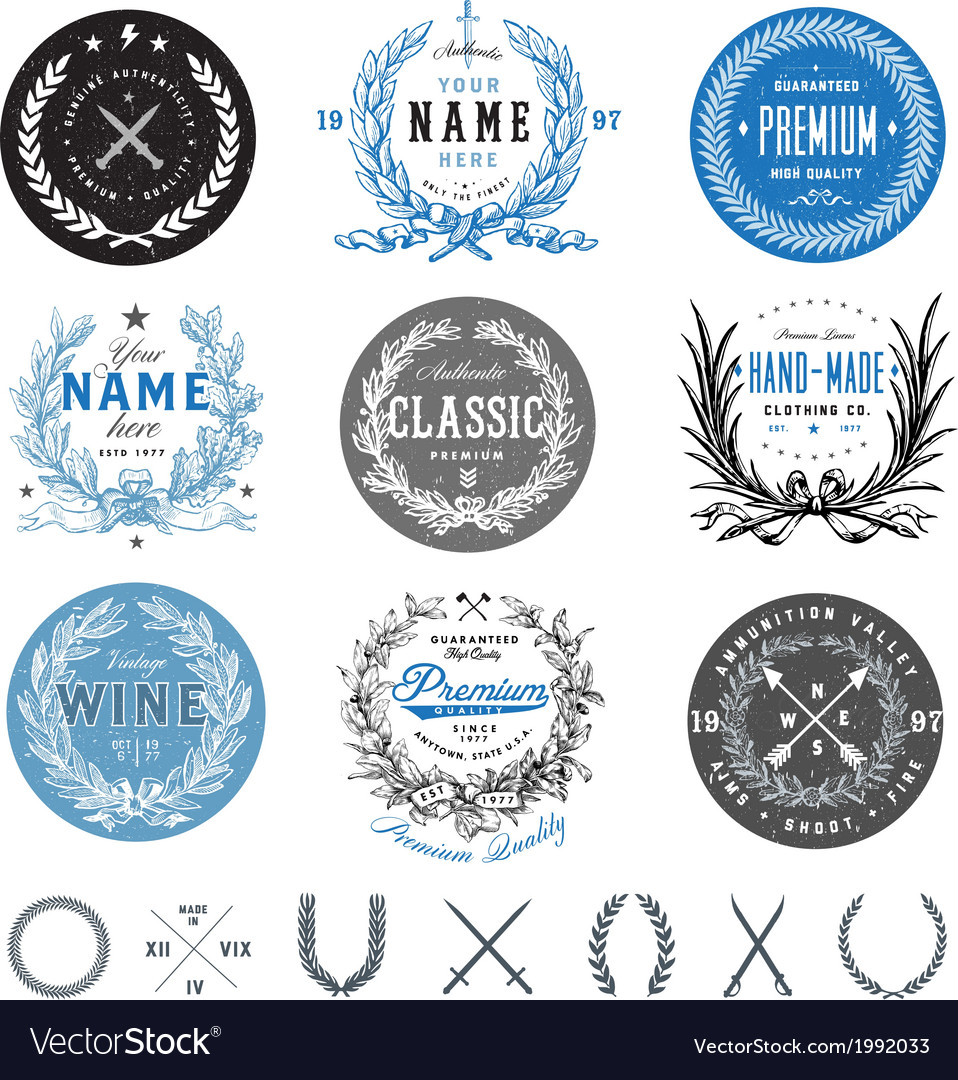 Wreath and badge set vector image