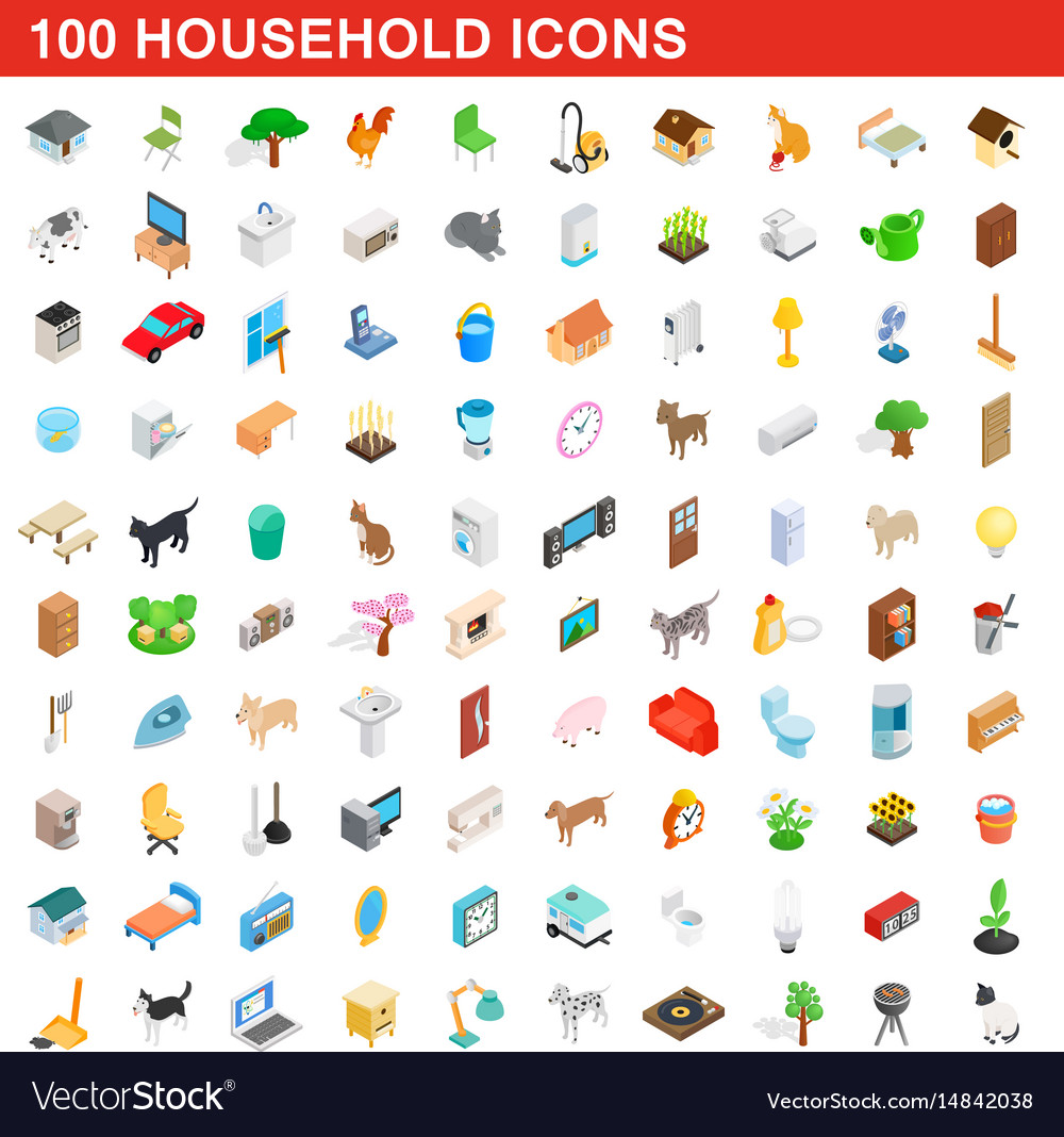 100 household icons set isometric 3d style
