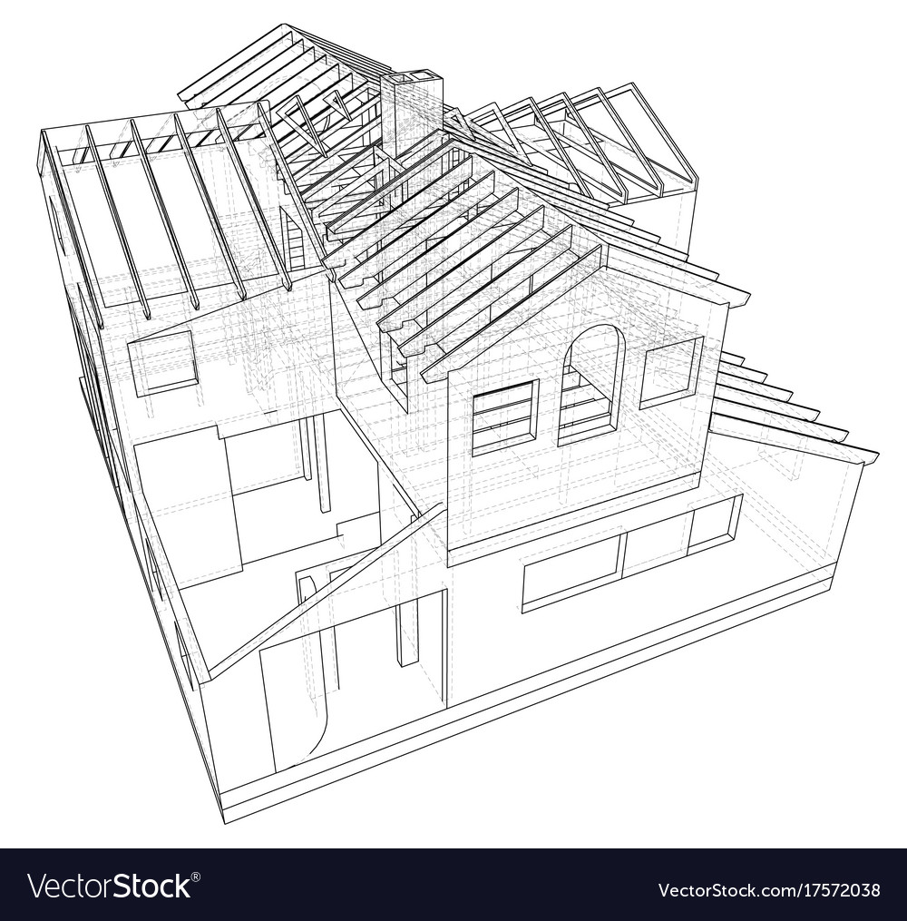 abstract 3d render of building wireframe structure