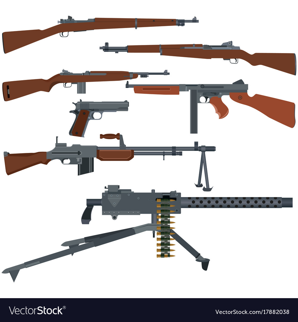 american weapons of world war ii royalty free vector image