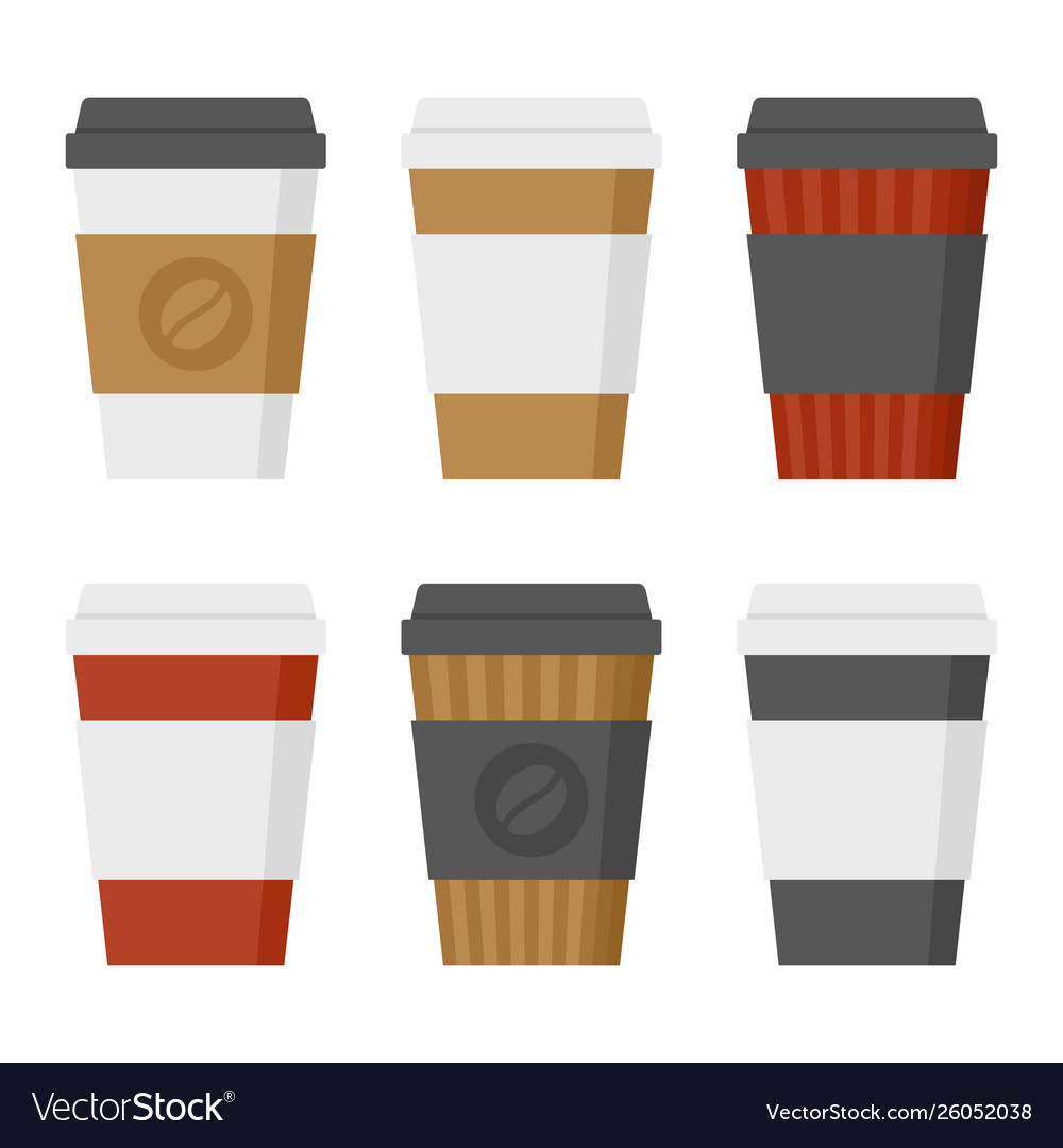 Coffee cup set on white background flat style