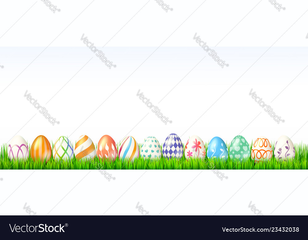 Collection of easter eggs on white background