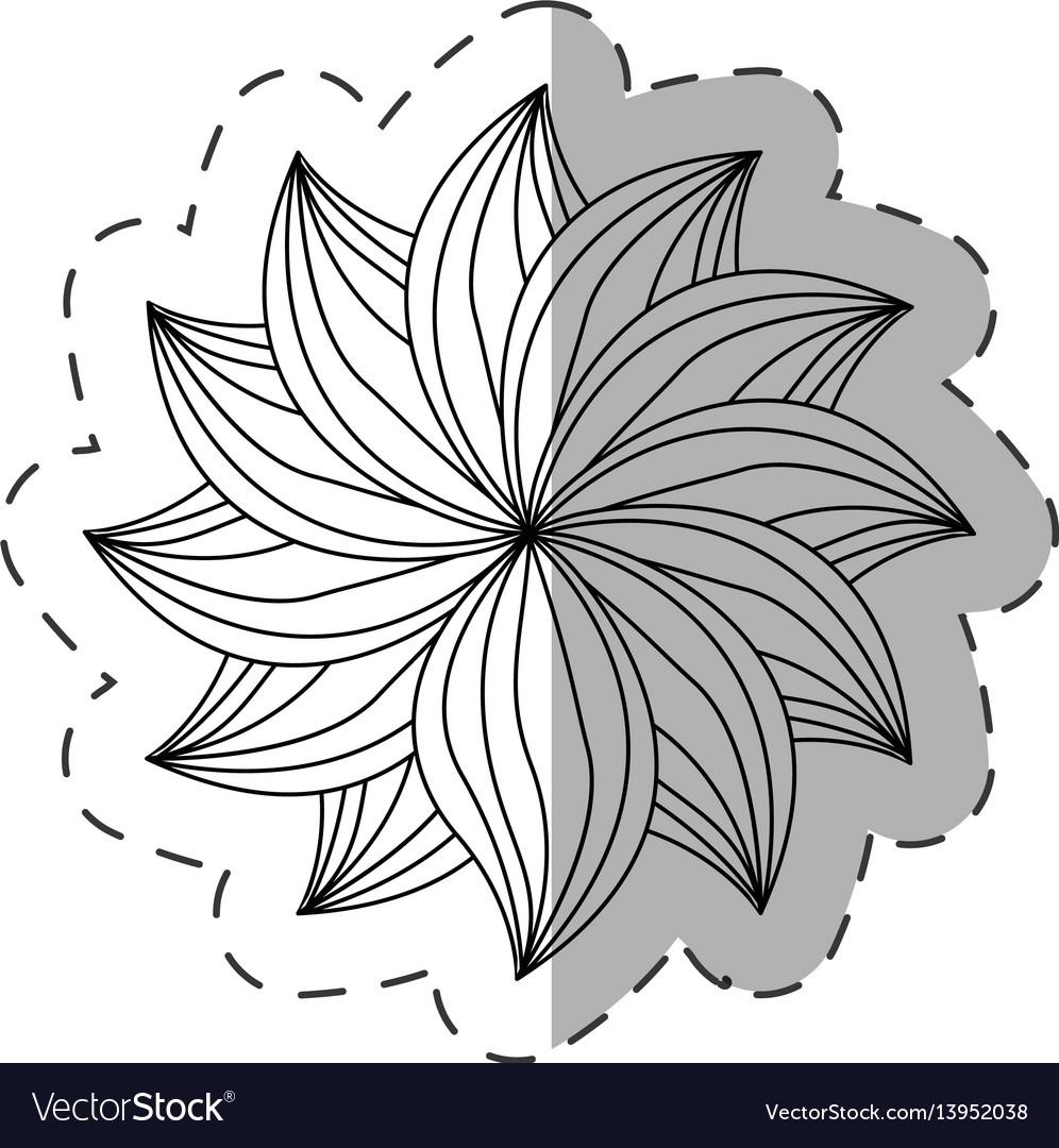 Dahlia flower decoration monochrome vector image